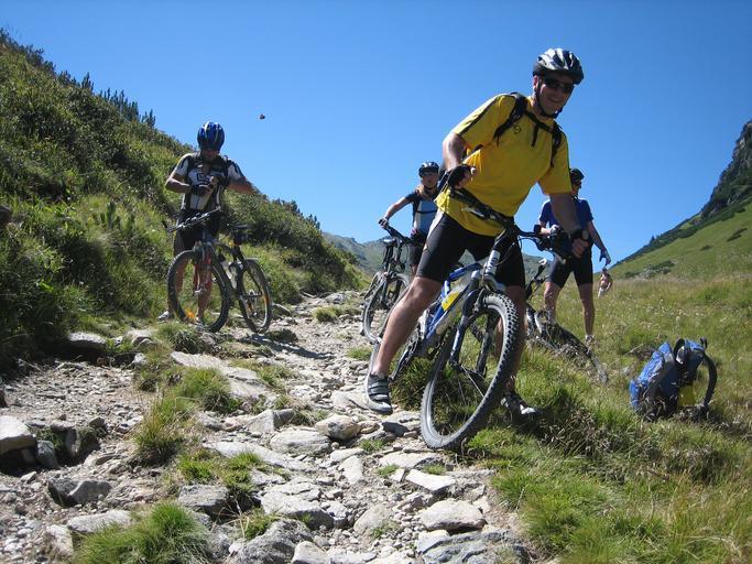 čtyři turisté na cyklo dovolené